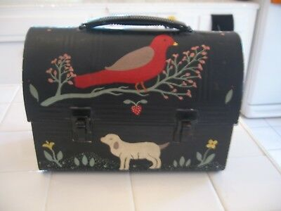 Vintage American Thermos Metal Lunchbox With Hand Painted Americana Folk Art