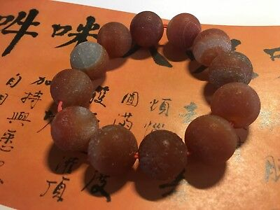 Old Tibetan Chinese red agate mala stretch bracelet heavy and large