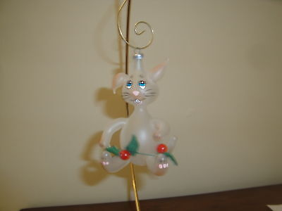 Vintage Italian Blown Glass Christmas Ornament Clear Mouse with Holly