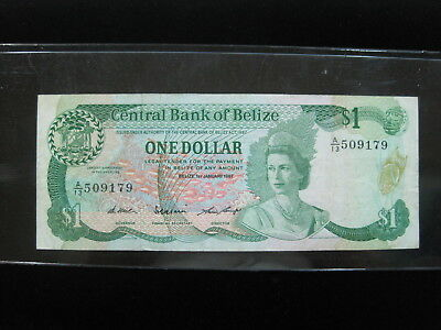 Belize $1 Dollar 1987 P46 Queen British 16# World Bank Currency Banknote Money
