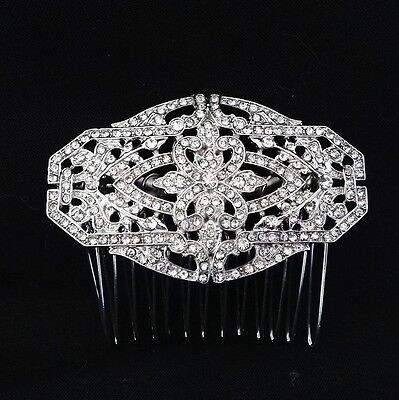 Wedding Bridal Rhinestones Crystal Diamante Headpiece Vintage Silver Hair Comb
