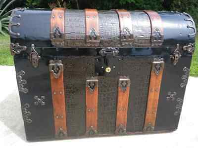 1880's waterfall alligator embossed tin trunk with working lock and key