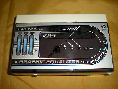 Vintage Crown Graphic Equalizer SZ-16 Portable Stereo Cassette Player