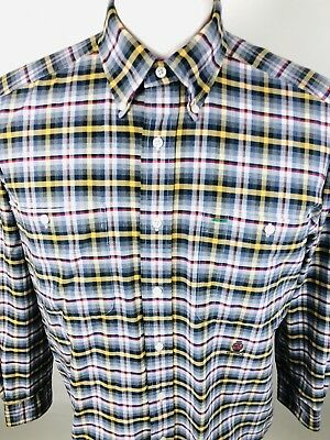 fe49cd27 T16 TOMMY HILFIGER Men Medium Flannel Shirt Gray Plaids Checks Button Down  L/S