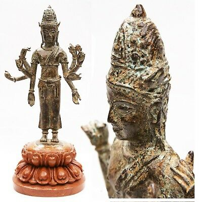Antique Indian Bronze Multi-Armed God Deity Vishnu Hindu India Tibet Statue Old