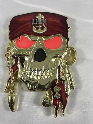 Navy cpo chief challenge coin LCS 10 Pirate **EYES GLOW** non nypd msg