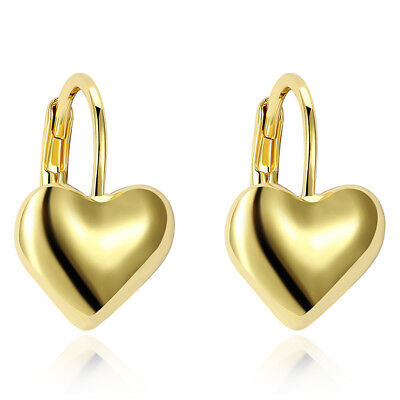 Women Heart Hoops Earrings 18K Yellow Gold Filled Charms Fashion Jewelry Gift