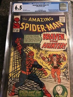 Amazing Spider-man #15 CGC 6.5 O/W 1st Kraven Appearance Vol 1 (1964) Marvel