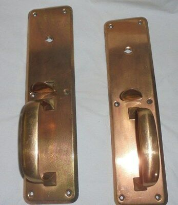Vintage antique pair of copper door handles