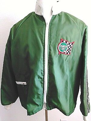 Quaker State Oil Crown Of California Green Cafe Racer Lined Windbreaker Jacket