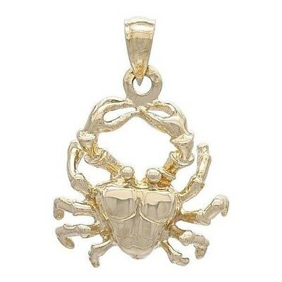 14K Yellow Gold Crab Cancer Zodiac Sign Charm Pendant Available in 2 Designs
