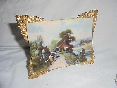 Antique vintage small picture frame with country scene print