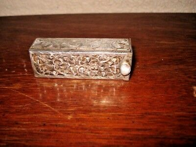 Ornate vintage 800 sterling silver lipstick holder with mirror 36 grams