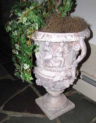 Pair of Figural Concrete Urn Garden Planters Cement Greek Classical Scenes
