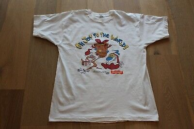 Vintage 90s Ren and Stimpy Oh Joy to the World T-Shirt Size XL White Tee 1993
