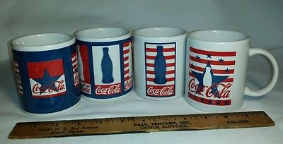 Coca Cola Patriotic Coffee Mug Lot of 4