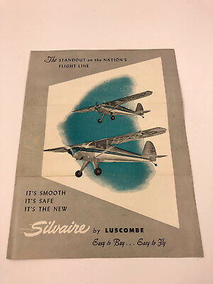 Vintage 1940's Silvaire by Luscombe Airplane Model 8-A 8-E Sales Brochure