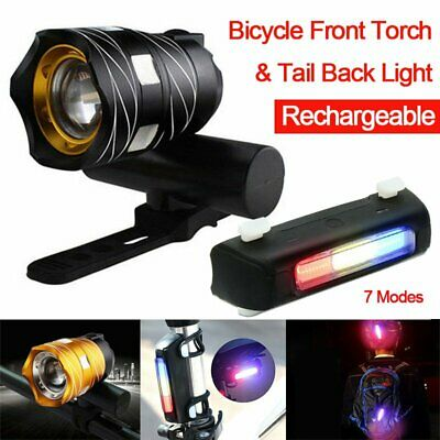 Bike Bicycle Lights USB LED Rechargeable Set Mountain Front Torch Back Headlight