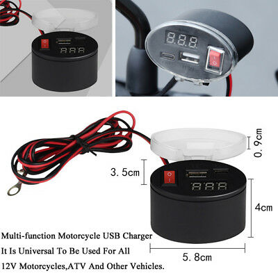 3A Dual USB Charger Socket Voltmeter Cigarette Lighter Power Bank For Motorcycle