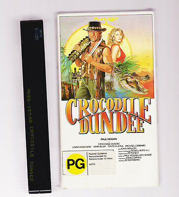 1986 CARDBOARD CASE RARE PG RATING Crocodile Dundee (Paul Hogan) Vhs Video Tape