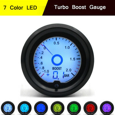 52mm 2″ Bar Turbo Boost Digital Gauge Meter 7 Color LED Display Racing Gauge