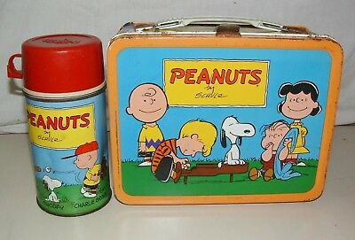 VINTAGE 1959 Peanuts Gang Metal Lunchbox With Thermos King Seeley Charlie Brown