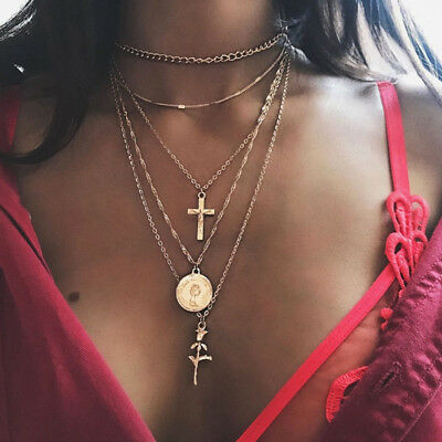 Fashion Women's Multilayer Clavicle Necklace Pendant Charm Choker Chain Jewelry
