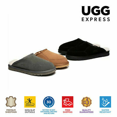 UGG Sheepskin Water Resistant Men classic Slippers Scuffs Bred-Grey Blk chestnut