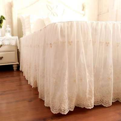 1PC Elegant & Romantic Ivory Two Layers Lace Cotton Matching Bed Skirt White