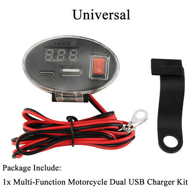 3A Dual Socket Voltmeter Cigarette Lighter Multi-Function Motorcycle USB Charger