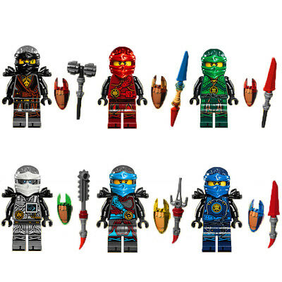 Ninjago Toy Boys Ninja Mini Figures X 6 Kai,Cole,Lloyd,Nya,Jay & Zane fit lego E