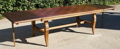 VERY LARGE EARLY 20th CENTURY FRENCH OAK EXTENDING REFECTORY DINING TABLE