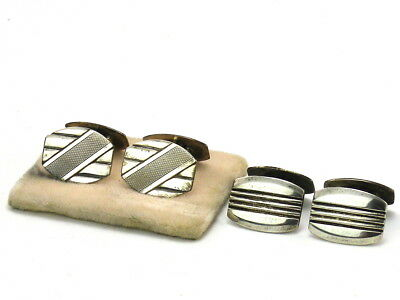 TWO PAIRS OF ART DECO SOLID SILVER CUFF LINKS CZECHOSLOVAKIA 1930s ULTRA RARE!!
