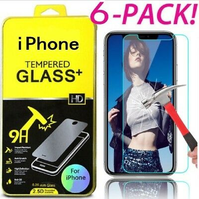 1-6X Tempered Glass Screen Protector Film for iPhone XS Max XR 6S/7/8 Plus LOT