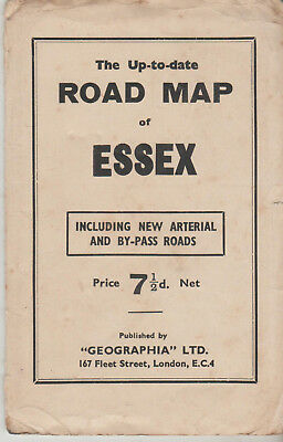 RARE VINTAGE GEOGRAPHIA UP TO DATE ROAD MAP OF ESSEX INCL NEW ARTERIAL - 7.1/2d