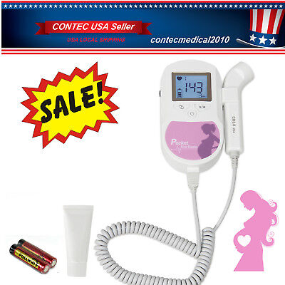 US Seller,Pocket Fetal Doppler,LCD Prenatal Heart Monitor,Baby Monitor,1 Gel