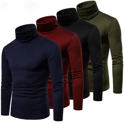 USA Men's Winter Warm Cotton High Neck Pullover Jumper Sweater Tops Turtleneck