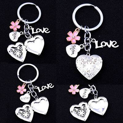 Gifts For Mum Dad Sister Heart Locket Charm Keyring Christmas Gift For Her Xmas