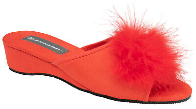 Ladies Womens Wedge Slippers Dunlop Feather Pom Pom Faux Suede Mules Heel Red
