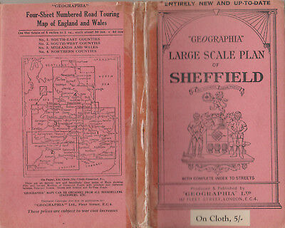 Rare Vintage Geographia Large Scale Plan Of Sheffield On Cloth - Cover Price 5/-