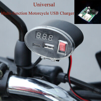 Dual USB Charger Socket Voltmeter Cigarette Lighter Power Bank Motorcycle 3V-12V