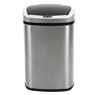 13 Gallon Touch Free Sensor Automatic Stainless Steel Kitchen Office Trash Can