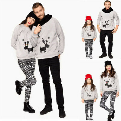 Christmas Family Matching Mom Dad Girls Boys Winter Jumper Sweater Tops Pullover