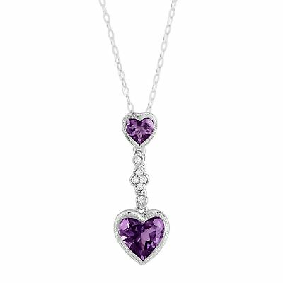 Natural Amethyst Double Heart Pendant w Created White Sapphires, Sterling Silver