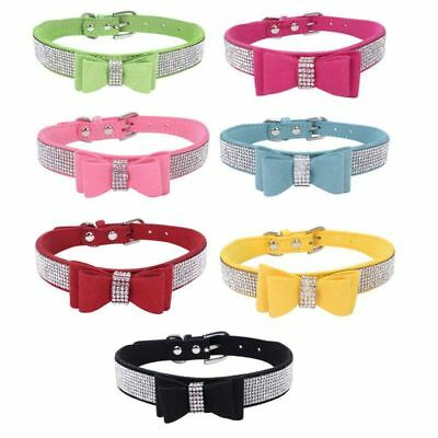 Pet Dog Rhinestone Bow Knot Collar Doggy Cat Adjustable Suede Diamond Necklace