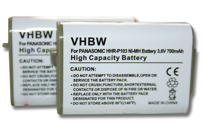 2x BATTERY for Panasonic P-P103, HHR-P103, HHR-P103A, TYPE 25, 89-1324-00-00