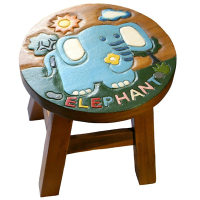 Hand Carved Wooden Stool With Elephant Design Also An Ideal Footstool