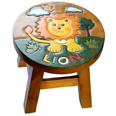 Hand Carved Wooden Stool With Lion Design Also An Ideal Footstool