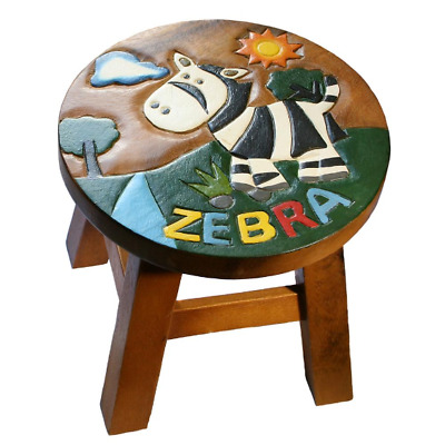 Hand Carved Wooden Stool With Zebra Design Also An Ideal Footstool