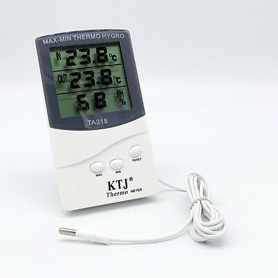 LCD Digital Thermometer Meter Indoor Outdoor Home Office Hygrometer White UK